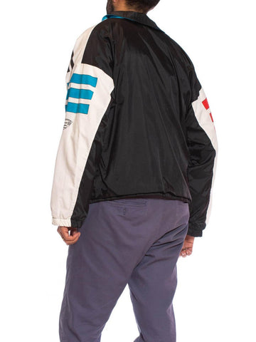 1980S Black & White Nylon Lined In Cotton Jersey Sports Windbreaker Jacket