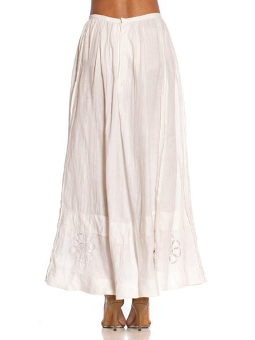 Edwardian White Hand Embroidered Linen Eyelet Lace Skirt