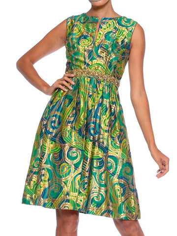 1960S Blue & Green Gold Lamé Rayon/Lurex Damask Paisley Cocktail Dress