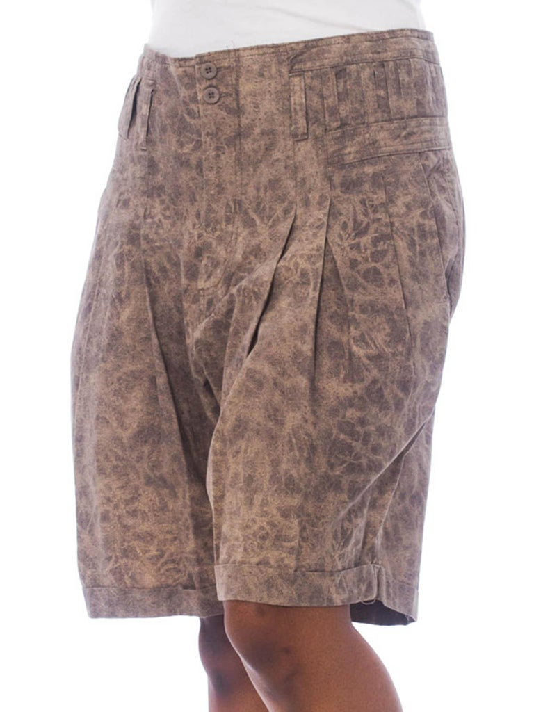 1980S Brown Cotton Acid Wash High-Waisted Men's Shorts With Belt Loops A Plenty