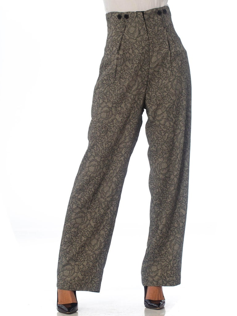 1980S Grey High-Waisted Lace Print Pants