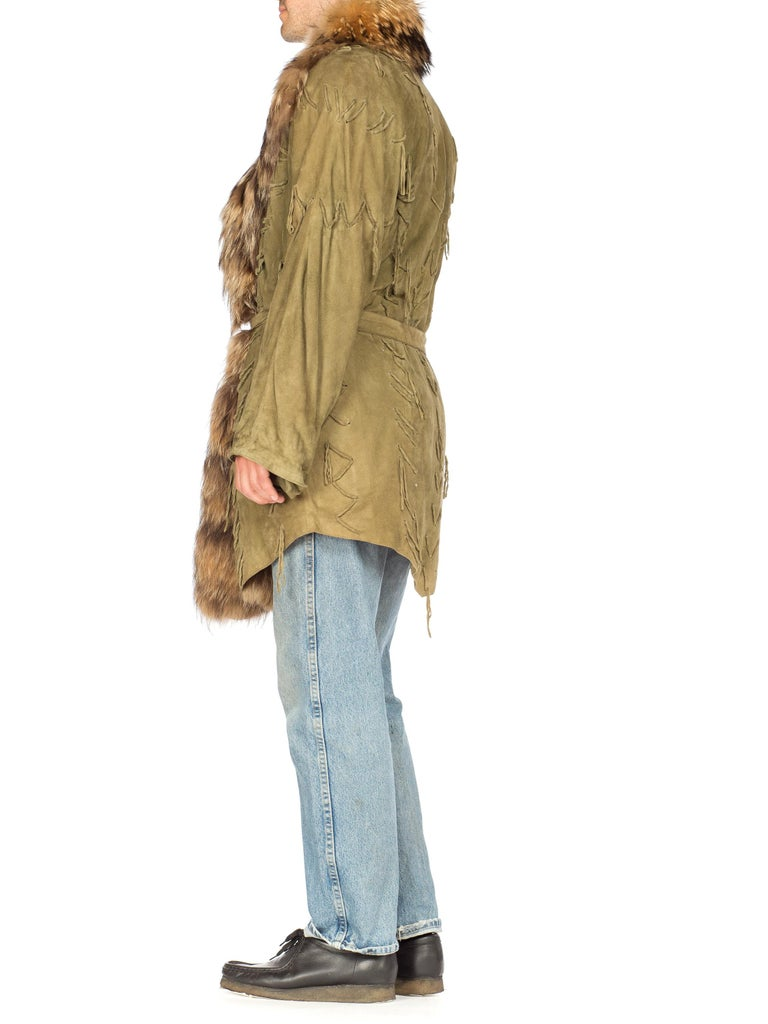 1980'S Green Suede Coat With Fur Collar