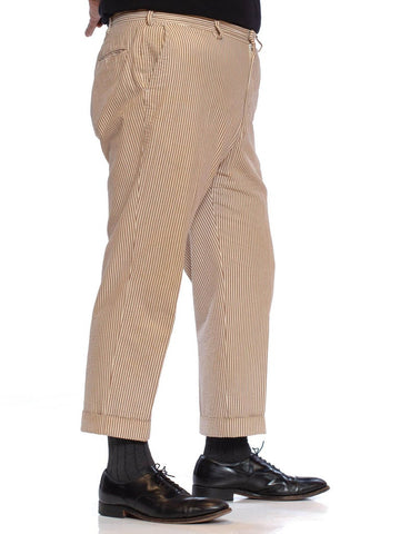 1970S BROOKS BROTHERS Brown & Beige Cotton Seersucker Men's Pants