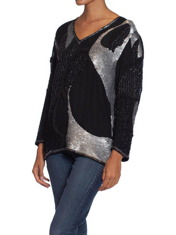 1980S Black & Silver Silk Abstract Beaded Sequined  Top
