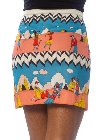 1970S Polyester Deco Golfer Printed Skirt With Interior Shorts