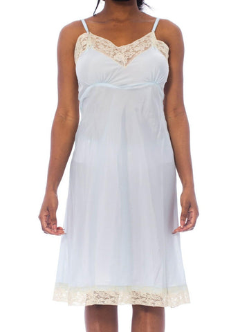 1940S Baby Blue Bias Cut Nylon Slip Dress With Cream Lace Trim