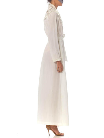 1970S Christian Dior White Cotton & Lace Wrap Dress / Robe