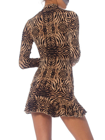 2000S Roberto Cavalli Animal Print Rayon Blend Jersey Slinky Mini Dress With Sleeves