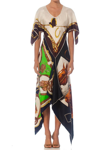 Morphew Collection Equestrian & Status Print Kaftan Dress Made From 1970S Vintage Silk Scarves
