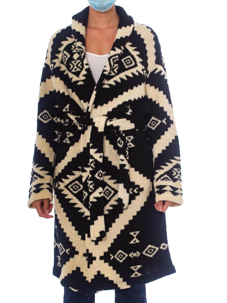 1990S Ralph Lauren Black & White Wool Hand Knit Navajo Pattern Maxi Sweater