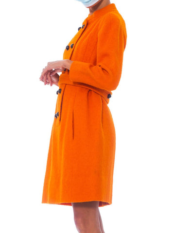 1960S Galanos Orange Wool Boucle Mod Shift Dress Fully Lined In Silk With Pockets & Belt