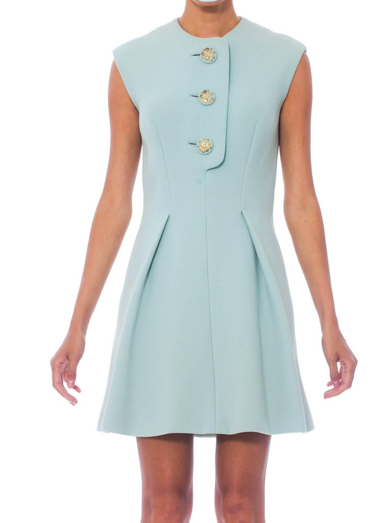 1960S Aqua  Wool Mod Shift Dress Lined With Silk