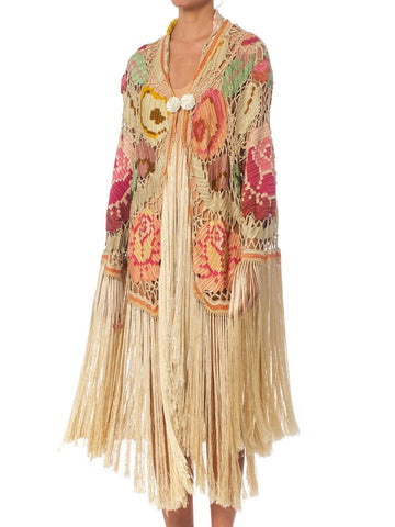 Morphew Collection Cream & Pastels Silk Fringe Cocoon Made From An Antique 1920S Crochet Shawl