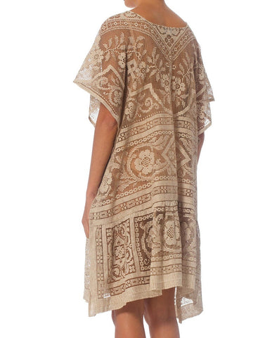 Morphew Collection Ecru & Brown Cotton Lace Tunic Kaftan Dress
