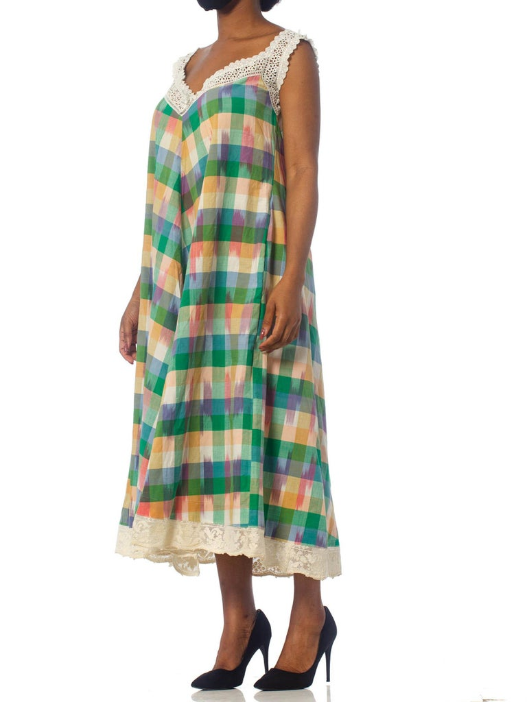 MORPHEW COLLECTION Victorian Handmade Lace & Hand-Woven Cotton Ikat Trapeze Dress