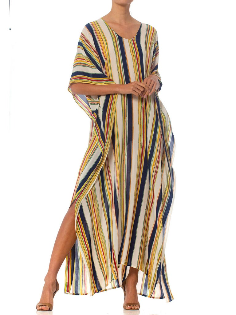 Morphew Collection Silk Crepe De Chine Kaftan Made From Vintage 70S Striped Fabric