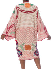 Morphew Collection Pink  Patchwork Cotton Chenille Duster With Purple Baby Peacocks
