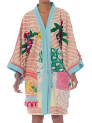 Morphew Collection Pastel Patchwork Cotton Chenille Duster With Blue Boarder