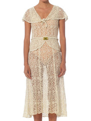 1930S White Bias Cut Cotton Lace Dress With Caplet Sleeves, Peplum & Art-Deco Belt
