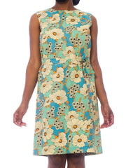 1960S Mint Blue Floral Rayon Mod Dress With Sash Belt