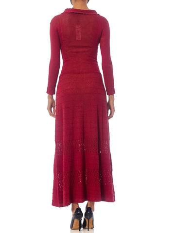 1930S Cranberry Red Rare Rayon Blend Knit Maxi Dress With Sleeves