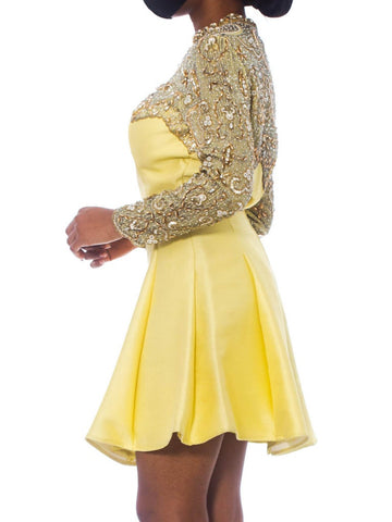 1960S Lemmon Yellow Hand Beaded Silk Radzimir Flared Mini Cocktail Dress With Pearl & Crystal Sleeves
