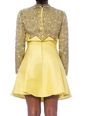 1960S Yellow Hand Beaded Silk Flared Cocktail Dress With Pearls & Crystals