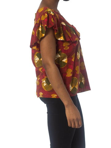 1970S Red Cotton African Batik Wax Printed Top