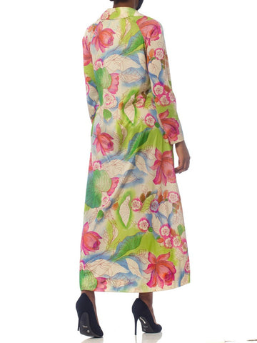 1970S Floral Slinky Nylon Kaftan With Pockets