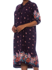 1970S Purple & Blue Floral Rayon Boho Loose Size Dress