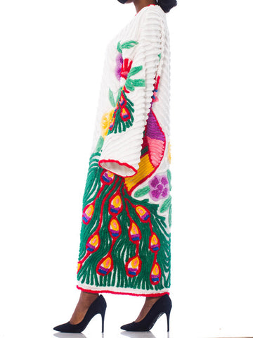 Morphew Collection White Cotton Chenille Beach Duster With Red & Green Peacocks