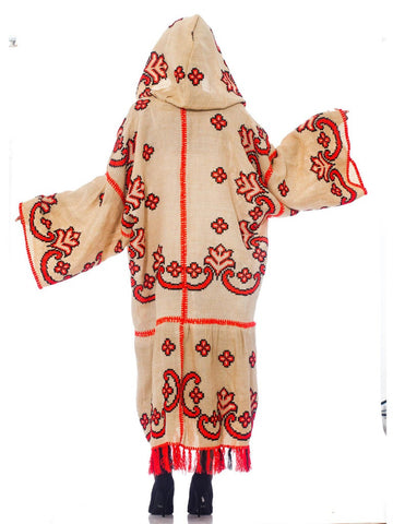 Morphew Collection Beige Cotton & Neon Coral Hand Embroidered Oversized Duster With Hood Fringe