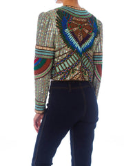 1980S Richilene Blue & Gold Silk Evening Jacket Entirely Beaded Embroidered With An Egyptian Wing Design