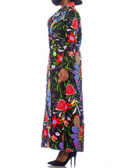 1960S Floral Psychedelic Cotton Sateen Maxi Duster Coat Montclair Style