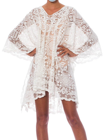 Morphew Collection White Cotton Handmade Filet Lace Kaftan Tunic Beach Cover-Up Dress
