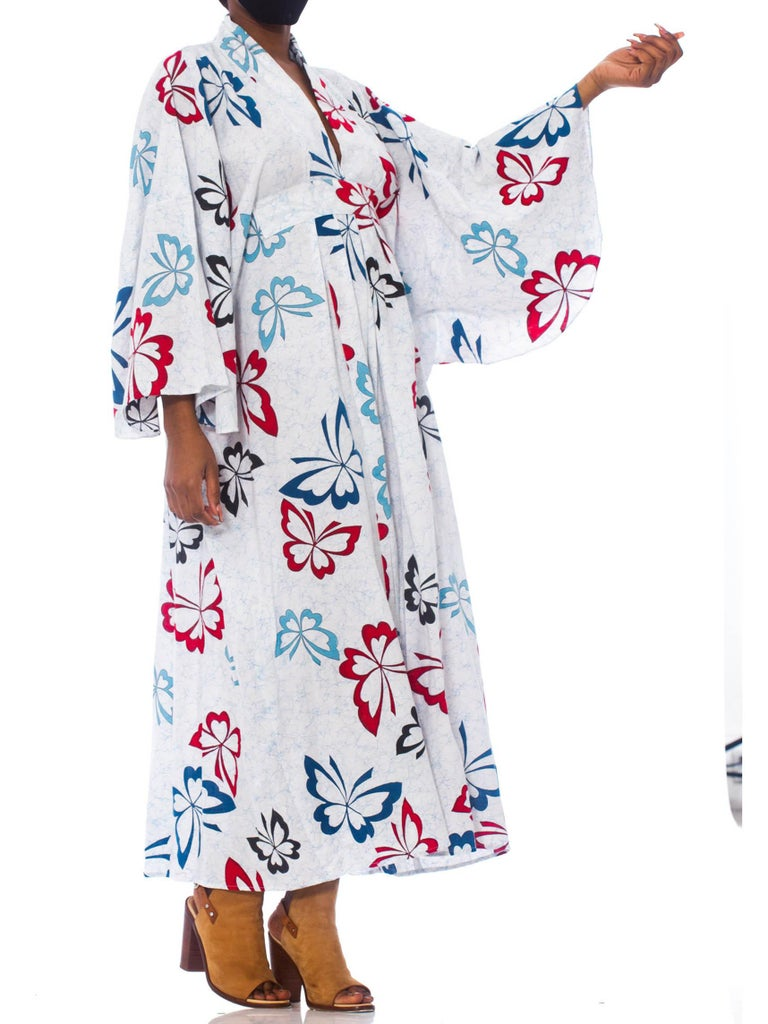 Morphew Collection Blue & White Cotton Red Butterfly Kaftan Made From Vintage Japanese Kimono Fabric