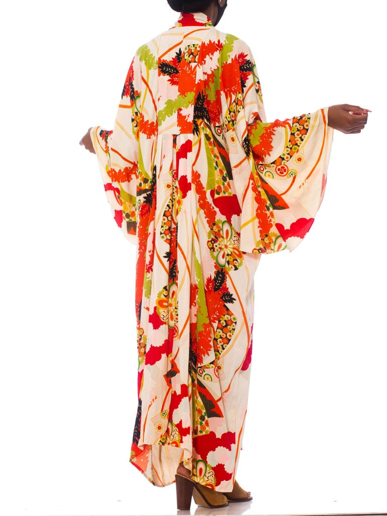 Morphew Collection Orange & Black Floral Flutter Sleeve Kaftan Made From 1940S Japanese Kimono Silk