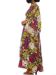 Morphew Collection Red, Yellow & Blue With Black Shibori Flowers Kaftan Made From 1940S Japanese Kimono Silk