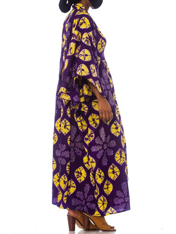 Morphew Collection Purple & Yellow Kaftan Made From 1950S Japanese Shibori Tie-Dye Kimono Silk