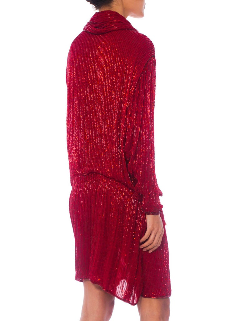 1970S Halston Red Silk Chiffon Oversized Mini Cocktail Dress Covered In Bugle Beads