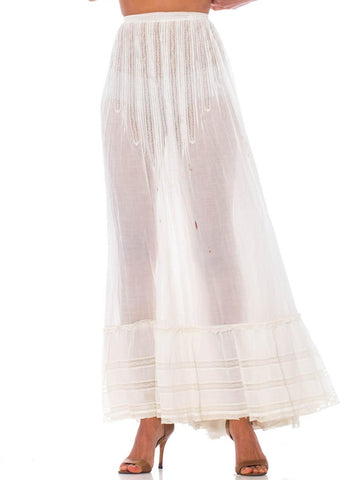 Victorian White Cotton Voile & Lace 1890S Skirt As-Is For Costume