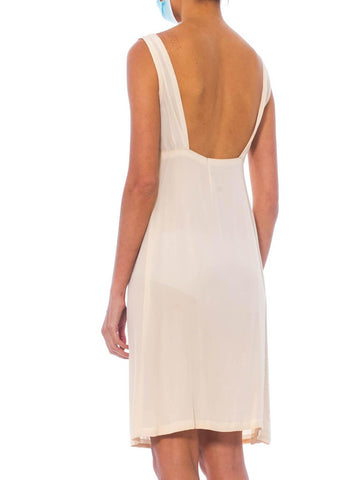 1960S Cream Silk Hand Finished Slip Dress With Low Back, Perfect For A Lace Or Sheer