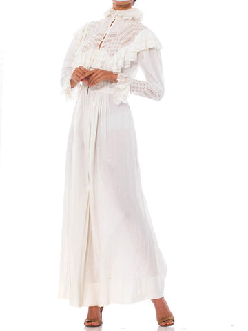 Victorian White Organic Cotton & Lace Belle Epoch Sleeve House Dress With Sash Tie Ruffles
