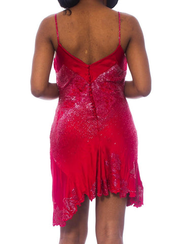 1990S Roberto Cavalli Cranberry Red Beaded Silk Charmeuse  Bias Cut Slip Cocktail Dress