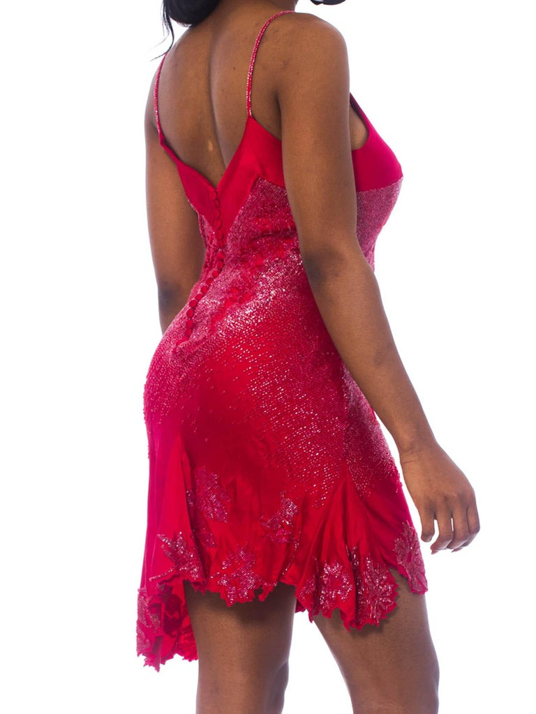2000S ROBERTO CAVALLI Cranberry Red Beaded Silk Charmeuse  Bias Cut Slip Cocktail Dress