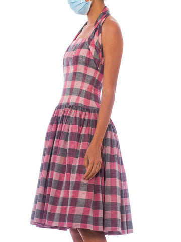 1950S Black & Pink Silk/Cotton Blend Plaid Fit Flare Halter Dress With Boning A Very Full Skirt
