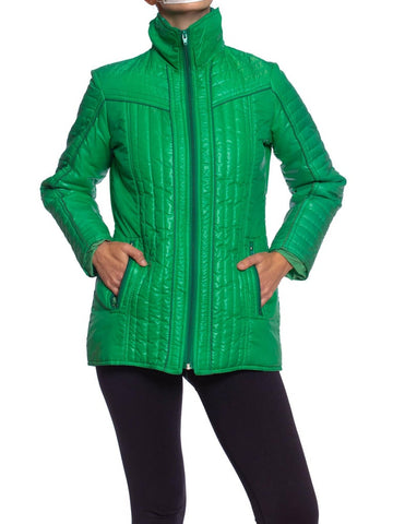 1970S AMEREX Kelly Green Nylon Puffer Ski Jacket