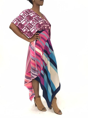 Morphew Collection Pink & Blue Rayon Silk 1960S Geometric Print Kaftan Scarf Dress