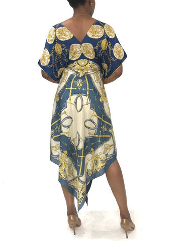 Morphew Collection Blue & White Silk Astrology Status Print Kaftan Scarf Dress