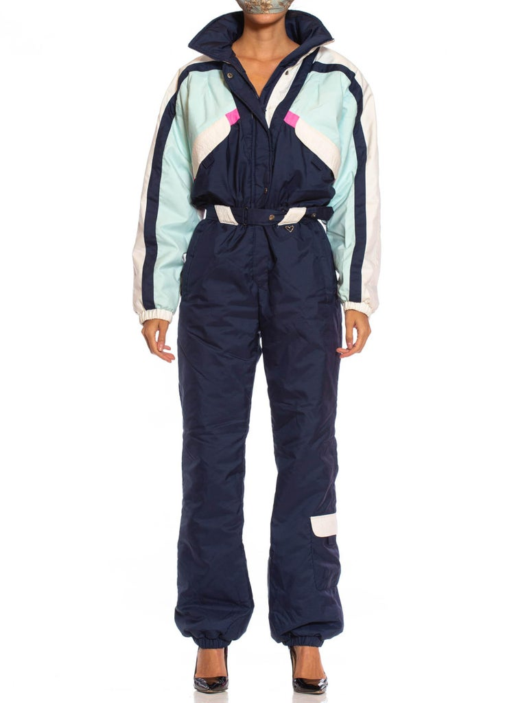 1980S OBERMEYER Navy Blue & White Polyester Ski Jumpsuit